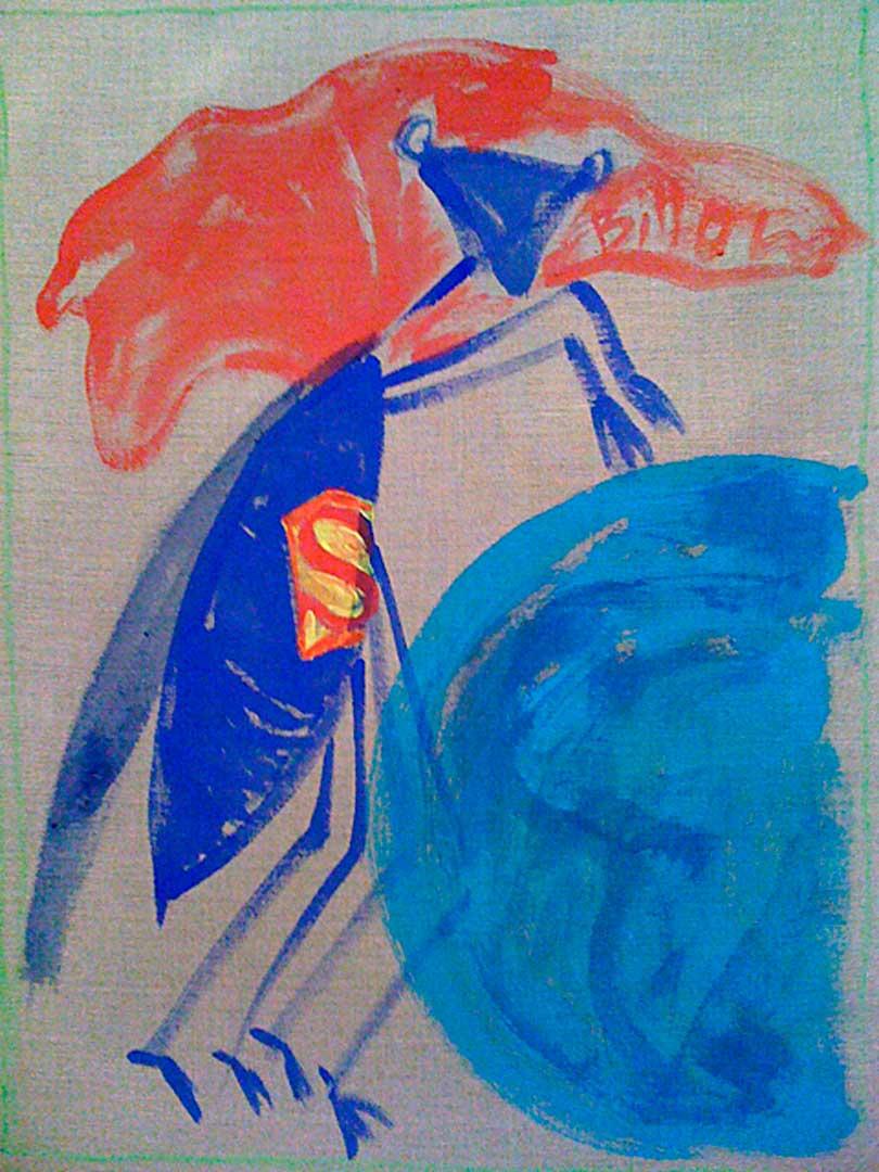 claudia shneider, showmaster 2010, gouache/canvas, 58 x 41 cm