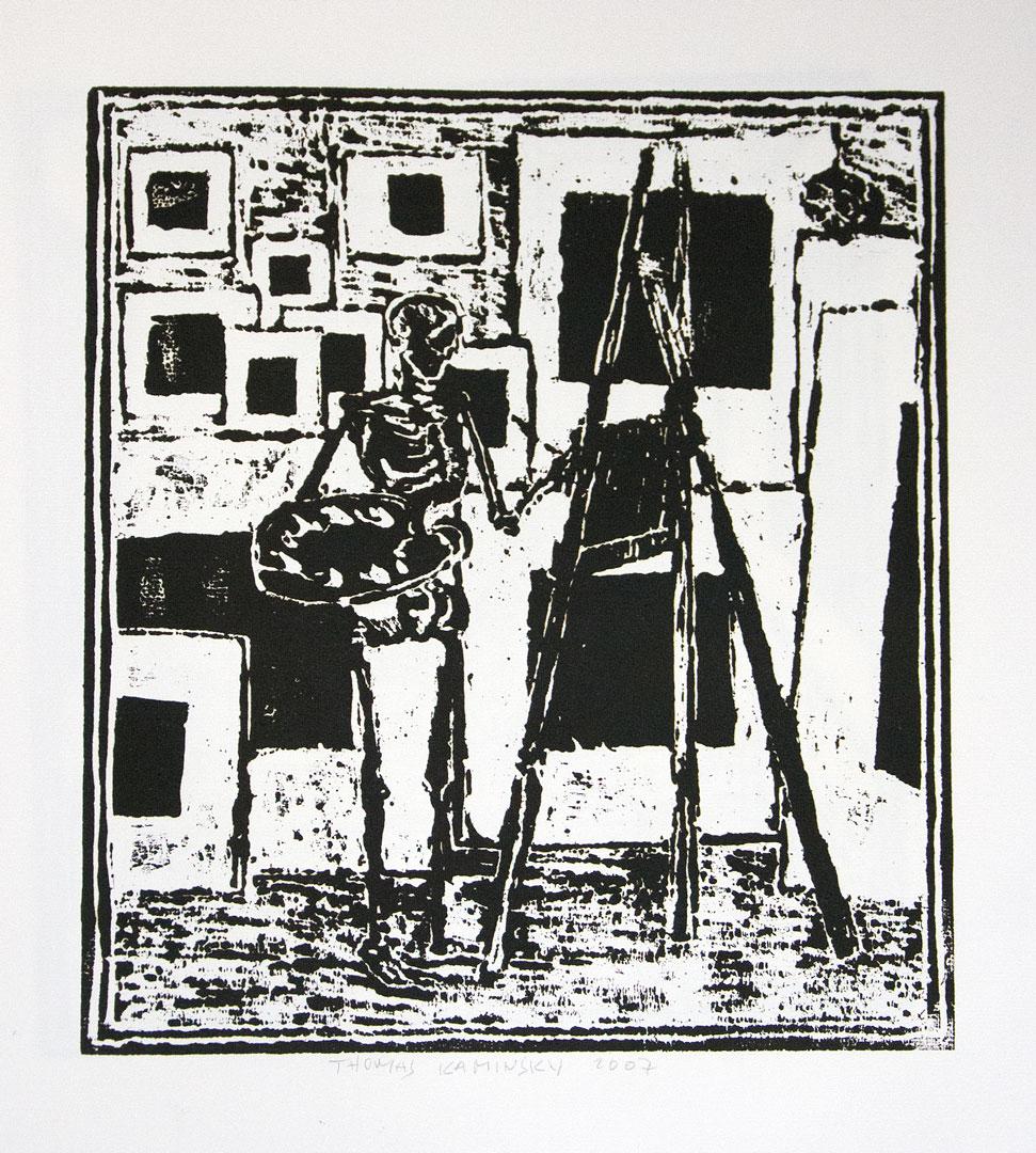 thomas kaminsky, black square series, 2007, woodcut,  35 x 30 on 64 x 54 c,m